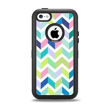 The Fun Colored Vector Segmented Chevron Pattern Apple iPhone 5c Otterbox Defender Case Skin Set