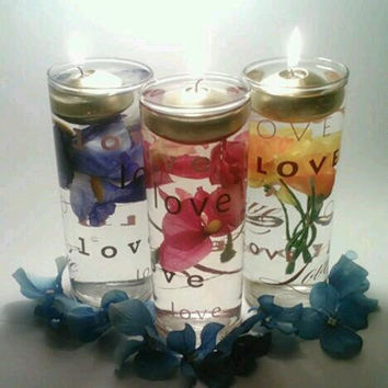 Floating Candle Centerpieces, Spring Centerpiece, Easter Candles,  Mother's Day, Flower Centerpiece, Love