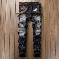 Ripped Holes Strong Character Slim Vintage Jeans [1922679636061]