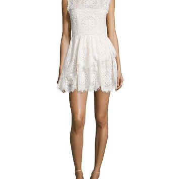 Charlee Sleeveless Tiered Lace Dress, Size:
