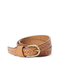 Tooled Faux Leather Belt