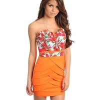 Orange & Floral Dress with Scalloped Skirt
