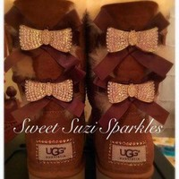 CREY1O Custom Bling Ugg boots, Chestnut Bailey Bow....(other colors available!)