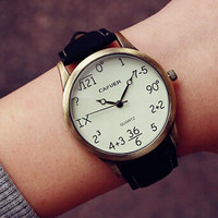 Womens Mens Mathematical Problem Leather Watch Love Gift Christmas Gift- 520