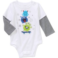Garanimals Newborn Baby Boys' Long Sleeve Hangdown Graphic Bodysuit - Walmart.com