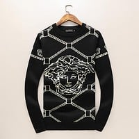 VERSACE Autumn Winter Men Women Warm Long Sleeve Knit Sweater Sweatshirt
