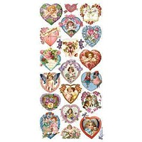 Heart and Valentine Victorian 2 Sheets of Stickers