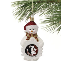 Florida State Seminoles :FSU: Glass Snowman Ornament - http://www.shareasale.com/m-pr.cfm?merchantID=7124&userID=1042934&productID=555871747 / Florida State Seminoles