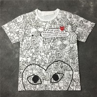 Short Sleeve Embroidery Cotton Couple T-shirts [10016849805]