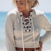 Short  Long Sleeve Hoodie Sweater Shirt