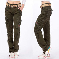 Fashion Full Pants 2015 Women Casual Loose sport jogger cargo pants Woman outdoor army Green Overalls trousers plus size 28-38