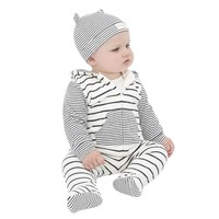 Hot Sale Newborn Infant Baby Boy Girl Striped Hooded Blouse Tops +Pants +Hat Baby Kids Warm Outfits Clothes Set