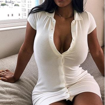 New neckline, breasted tight sexy bust and hip dress