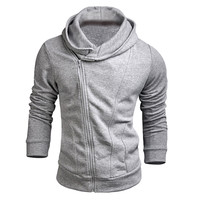 2015 Casual Hoodies Men Novel Sweatshirt Oblique Zipper Cotton Slim Sportswear Tracksuit Patchwork Mens Hoodies and Sweatshirts