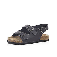 River Island Boys black double strap flat bed sandals
