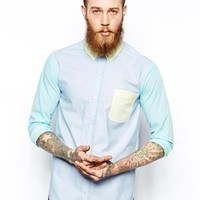 Reclaimed Vintage Shirt in Pastel Cut and Sew -