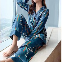 """Gucci"" Fashion Multicolor Letter Pattern Print   Cardigan Long Sleeve Trousers Two-Piece Set suit"