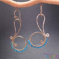 """Hammered swirls wrapped with turquoise, 1-3/4"""" Earring Gold Or Silver"""