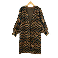 Open Front Contrast Wave Stripe Long  Loose Knitted Cardigan