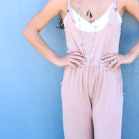 Howling At The Moon Light Acid Wash Beige Overalls