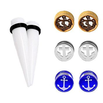 """8PCS Ear Gauges 12mm Plugs Set Stainless Steel and Glass Double Flared Anchor Tunnels Kit 1/2"""""""
