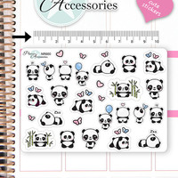 Kawaii Panda Stickers Cute Panda Stickers Panda Stickers Planner Stickers Erin Condren Functional Stickers Decorative Stickers NR660