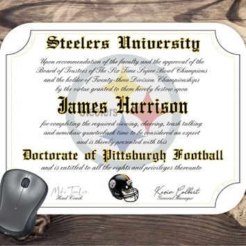Pittsburgh Steelers Ultimate Football Fan Personalized Diploma - Mouse Pad