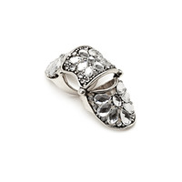 FOREVER 21 Faux Gem Knuckle Ring Burn.S/Clear