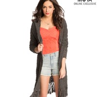 Hooded Open-Stitch Fringed Drape Cardigan
