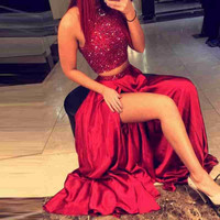 luxury burgundy two piece prom dress 2017 high neck beaded sequin high slit  women gown formal party dress vestido de festa