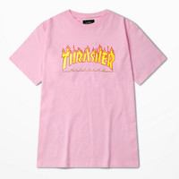 Thrasher Magazine Red Flame Logo Pink & Yellow T-Shirt