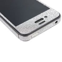 TCD for Apple iPhone 5 5S Full Body [SILVER GRAY] Sparkling Glitter LIFETIME WARRANTY [SKIN STICKER] Adhesive - No Sticky Residue Stylish Decorative Skin with Built in Screen Protector