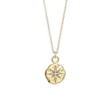 CZ Pave North Star Hammered Disc Pendant Necklace