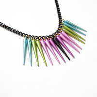 Multicolor Necklace Handmade - Blue - Green - Pink - Purple - Black -  Spikes - Black Chain - Long Necklace
