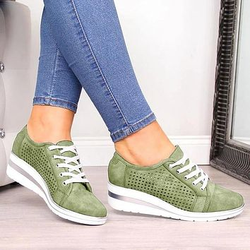SHUJIN Women Wedge Flats Summer Leather Shoes Low Heels Casual Soft Flat Shoe Bow-knot Hollow Breathable Ladies Loafers Sandals