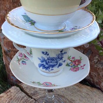 Alice in Wonderland Decorations Mad Hatter Tea Party Stacked Teacup Centerpiece Decor