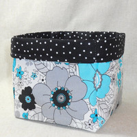 Lovely Black, White and Turquoise Floral Fabric Basket