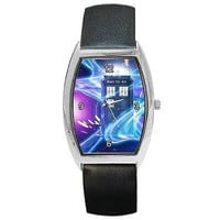 Dr Who, Tardis on Swirling Space Field (stars) on Barrel Watch with Leather Band