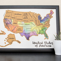 United States of America US Watercolor Art - Scratch Your Travels™ USA Map Poster Wedding Honeymoon Anniversary gift present
