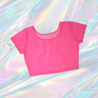 sheer mesh crop top hot pink tumblr fashion EDC club kid vintage 90s soft pastel grunge