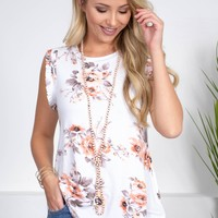 Joy Ann Floral Ivory Top