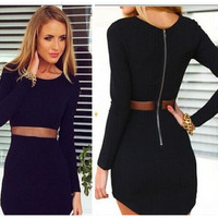 SIMPLE - Mesh Pack Hip Mini Skirt One Piece Dress b154