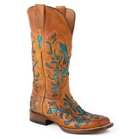 Stetson Cowgirl Boots Women's Burnished Tan Leather w/ Turquoise...