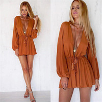 SIMPLE - Women Summer Fashionable Sexy Romper Robe a10064