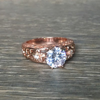 Rose Gold Filled 2ct Round Cut CZ Engagement Ring