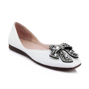 Women's Loafers Shallow Mouth Square Head Rhinestone Flats Shoes