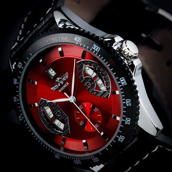 SG Post or HK Post New Automatic Wrist Leather Date Mechanical Auto Steel Case Men's Watch Wrist Watch for 2015 = 1748267204