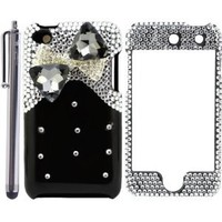 The Friendly Swede (TM) Bow Tie / Ribbon 3D Diamond Protector Case for Apple iPod Touch 4 / 4G / 4th Generation - Stylus Pen & Retail Packaging