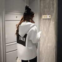 Autumn Loose Oversize White Truth Hoodie Jacket for Women Simple Letters Print Black Korean Style Zipper Coat Sudaderas Mujer