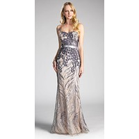 Strapless Sequins Floor Length Prom Dress Mauve